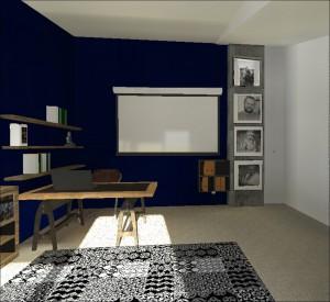 Pracovní kout tvoří psací stůl z masivu s industriálními nohami. Židle v koženém provedené koresponduje se sofou z hnědé kůže. Na stěně vedle plátna pro projektor visí kvalitní černobílé fotografie mladé rodiny.