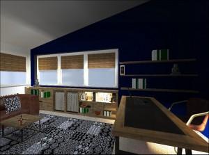 Pracovna se šikmým stropem má výmalbu v ocelově modrém odstínu. Pod oknem je knihovna se skříňkami výplněnými kovovou mřížkou, která propouští světlo zevnitř.